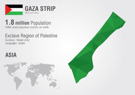 palestine: Gaza strip world map woth a pixel diamond texture  World Geography