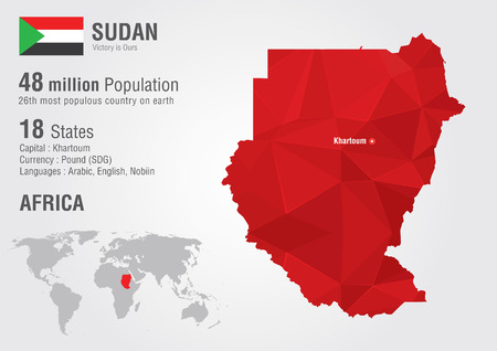 sudan: Sudan world map with a pixel diamond texture  World geography  Illustration