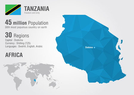 populous: Tanzania world map with a pixel diamond texture  World geography