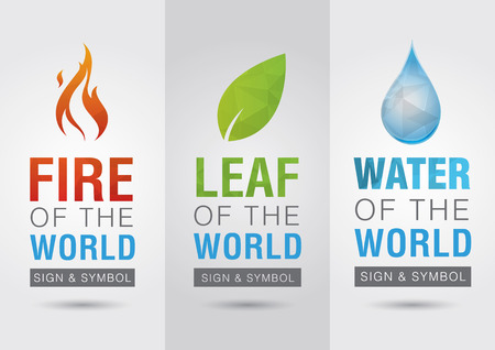 Element of the world, Fire leaf water icon symbol sign  Creative marketing  Business success