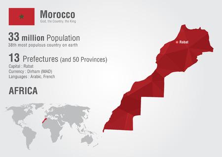 Marruecos mapa del mundo con una textura de la geografía mundial diamante pixel