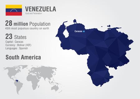 mapa de venezuela: Venezuela mapa del mundo con una textura de diamante pixel Geografía Mundial