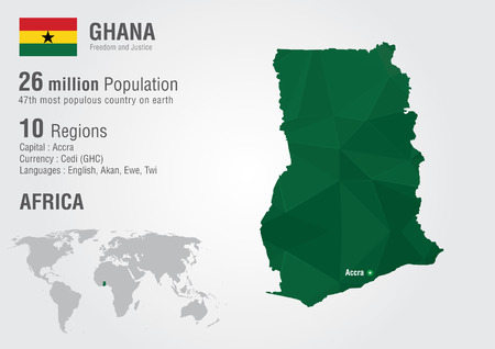 populous: Ghana world map with a pixel diamond texture  World geography