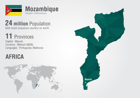 populous: Mozambique world map with a pixel diamond texture  World Geography