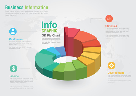 grafica de pastel: Informar la carta de asunto 3D Pie infografía Éxito de comercialización de negocios creativos