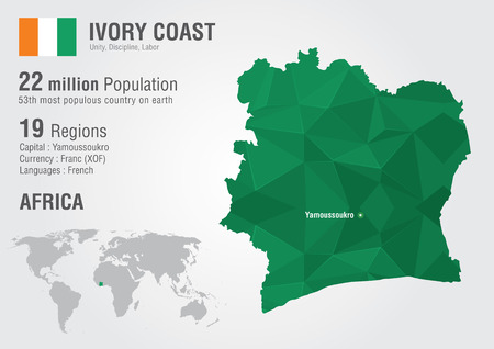 populous: Ivory Coast World map with a pixel diamond texture  World geography  Illustration