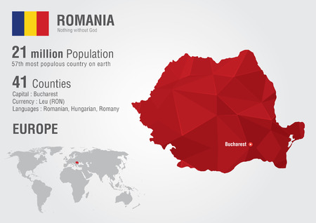 populous: Romania world map with a pixel diamond texture  World geography