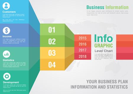 Business bar level step chart infographic. Business report creative marketing. Business success.
