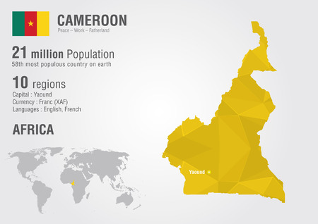 populous: Cameroon world map with a pixel diamond texture. World geography. Illustration