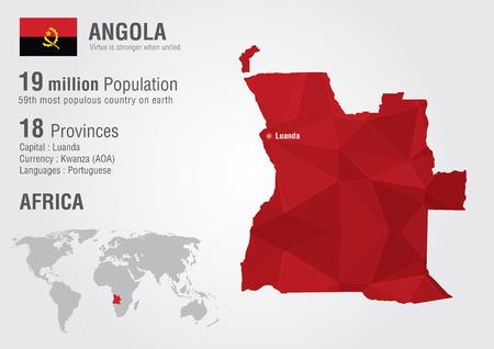 angola: Angola world map with a pixel diamond texture. World geography. Illustration