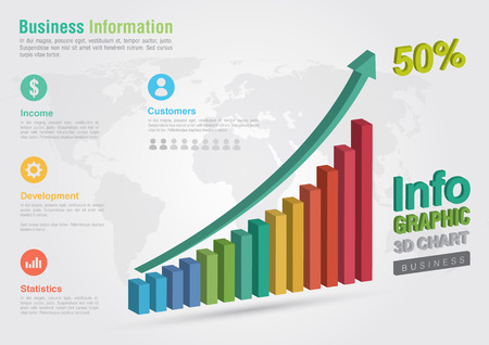 ci: Business 3D line chart infographic. Business report creative marketing. Business success.