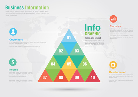 ci: Business triangle bar chart infographic. Business report creative marketing. Business success.