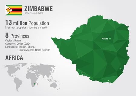 populous: Zimbabwe world map with a pixel diamond texture. World geography.