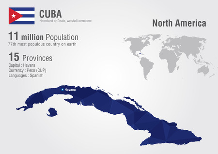havana cuba: Cuba world map with a pixel diamond texture  World geography