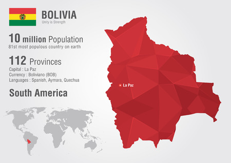 populous: Bolivia world map with a pixel diamond texture  World geography