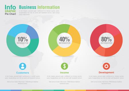 비즈니스 파이 차트 인포 그래픽 비즈니스는 창조적 인 마케팅 사업의 성공을보고