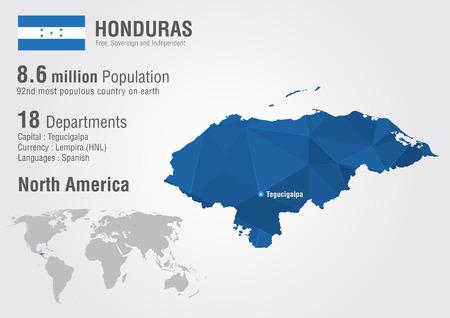 populous: Honduras world map with a pixel diamond textire  World Geography  Illustration