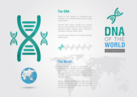 ci: DNA of the world  Info graphic the world with a chromosome  Creatibe living  Illustration