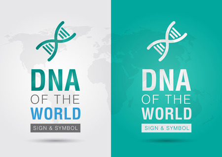 ci: DNA of the world  Icon symbol DNA and the world with a chromosome  Creative living  Illustration