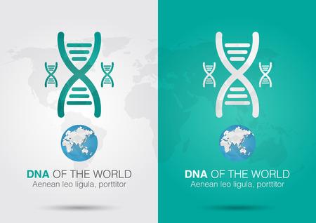 cromosoma: ADN del símbolo del icono mundial de ADN y el mundo con un cromosoma vida creativa