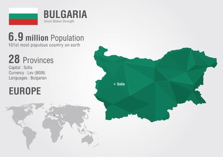 populous: Bulgaria world map with a pixel diamond texture. World geography. Illustration