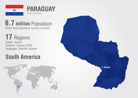 populous: Paraguay world map with a pixel diamond texture. World geography. Illustration