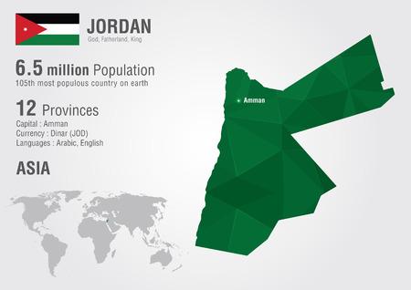 Jordan World Map With A Pixel Diamond Texture. World Geography ...