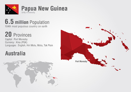 papua: Papua new guinea world map with a pixel diamond texture. World geography.