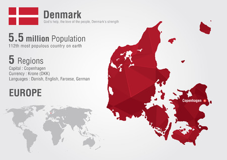 populous: Denmark world map with a pixel diamond texture. World geography.
