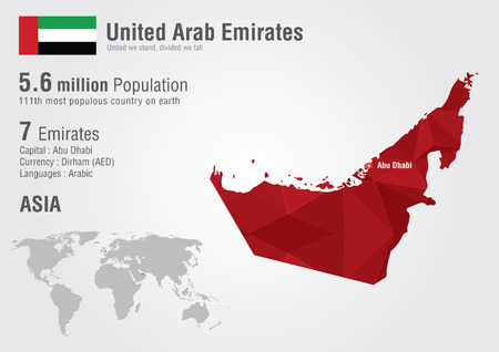 united arab emirates: UAE United Arab Emirates world map with a pixel diamond texture. World geography.