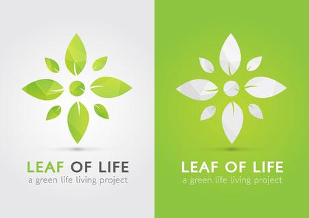 생활의 잎입니다. 잎에 의해 삶의 현대적인 아이콘 기호. 녹색 생활합니다. 일러스트