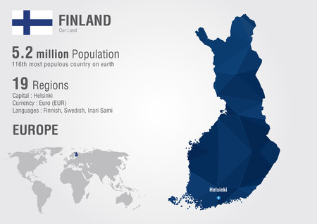 finland: Finland world map with a pixel diamond texture. World geography.