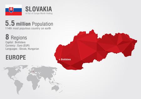 ピクセル ダイヤモンド テクスチャとスロバキアの世界地図。世界の地理学。  イラスト・ベクター素材