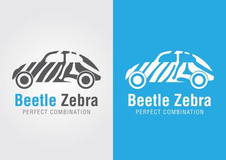 ci: Beetle car with a zebra texture. Perfect Combination. Creative design.