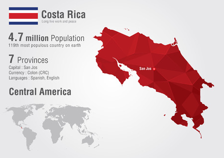 populous: Costa Rica world map with a pixel diamond texture. World Geography.