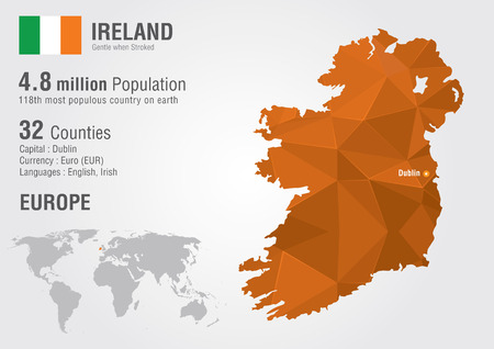 republic of ireland: Ireland world map with a pixel diamond texture. World geography.
