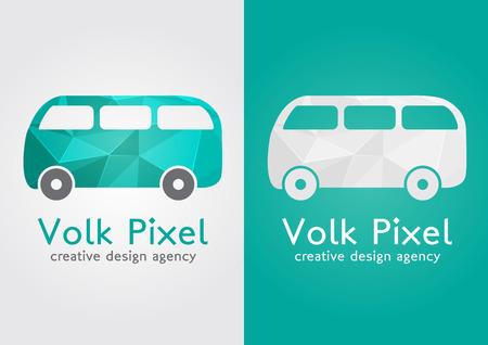ci: Volk Pixel creative icon symbol  Sweet flat modern with a pixel diamond texture  Creative design agency  Illustration