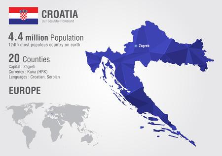 픽셀 다이아몬드 질감 크로아티아 세계지도입니다. 세계 지리학.