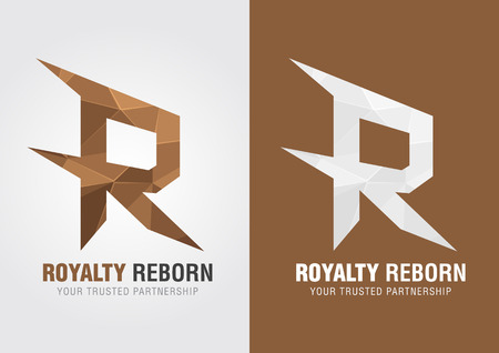 reborn: R Royalty rinato. Icona simbolo di un alfabeto R. creativo di marketing.