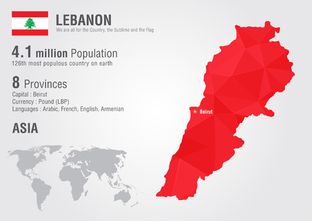 populous: Lebanon world map with a pixel diamond texture. World geography. Illustration