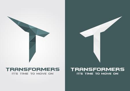 알파벳 문자 T. 크리 에이 티브 디자인에서 T 변압기 아이콘 기호.