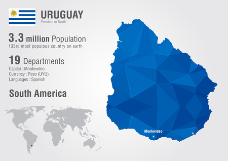 south america map: Uruguay world map with a pixel diamond texture. World geography.