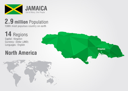 motto: Jamaica world map with a pixel diamond texture. World geography.
