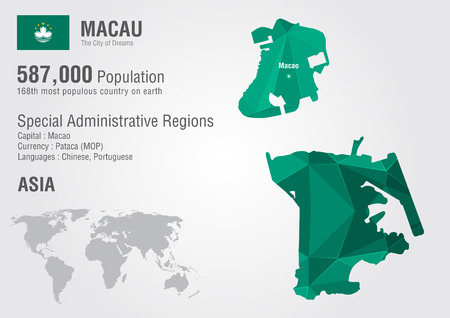 populous: Macau world map with a pixel diamond texture. World geography. Illustration