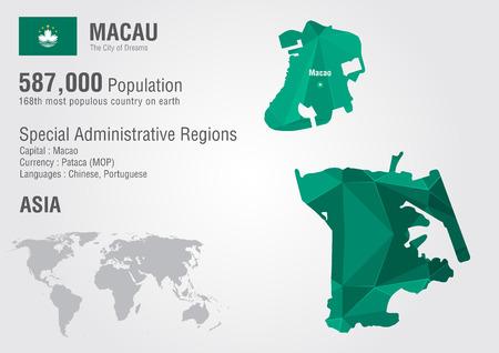 Macau world map with a pixel diamond texture. World geography. Illustration