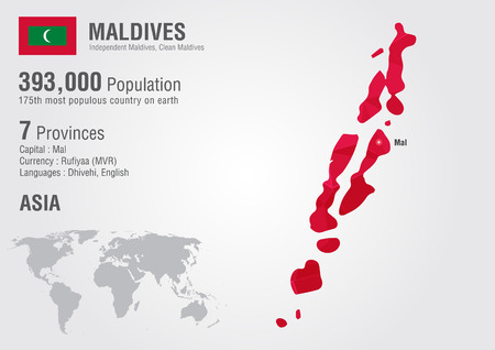 populous: Maldives world map with a pixel diamond texture. World geography. Illustration