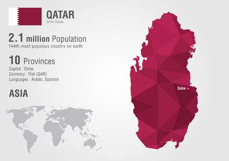 픽셀 다이아몬드 텍스처와 카타르 세계지도입니다. 세계 지리. 일러스트