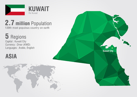 motto: Kuwait world map with a pixel diamond texture. World geography.
