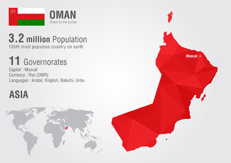populous: Oman world map with a pixel diamond texture. World geography. Illustration