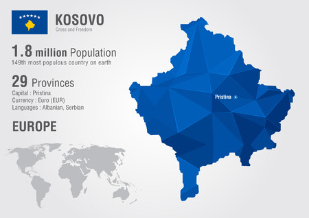 motto: Kosovo world map with a pixel diamond texture. World geography.